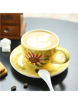 Wonderful Sunflower Pattern Ceramic Coffee Cup