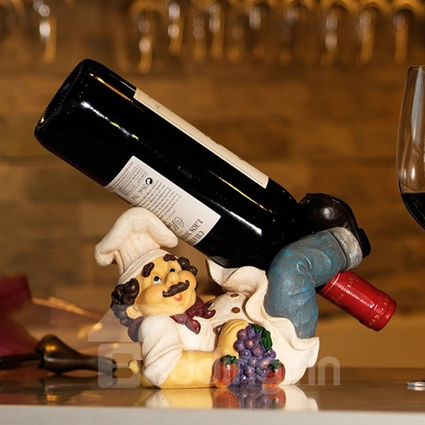 Unique Chef Lying on His Back Resin Wine Holder