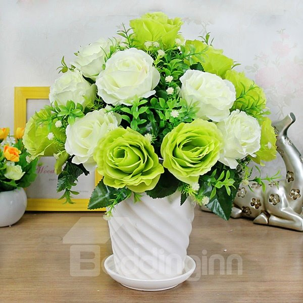 Gorgeous 18pcs French Roses with Ceramic Vase Artificial Flower Sets