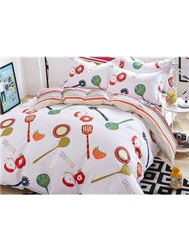 Cute Kitchen Theme Kids Cotton Duvet Cover Sets