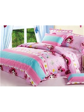 Sweet Girls and Polka Dot Pattern Kids Cotton Duvet Cover Sets
