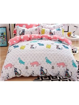 Happy Cats Party Kids Cotton Duvet Cover Sets