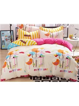 My Best Love Birds Pattern Kids Cotton Duvet Cover Sets