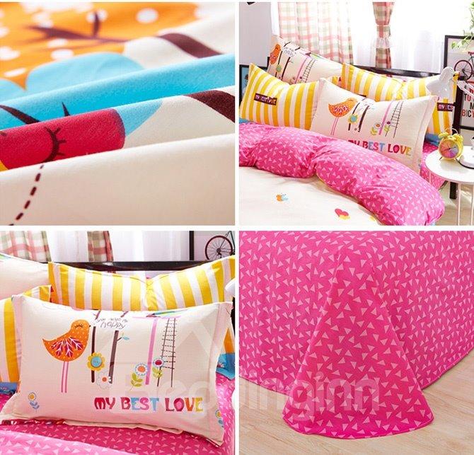My Best Love Birds Pattern Kids Cotton Duvet Cover Sets