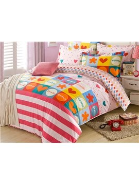 Colorful Plaid and Stripes Pattern 100% Cotton Kids 4-Piece Duvet Cover Set