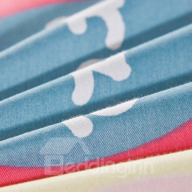 Colorful Plaid and Stripes Pattern 100% Cotton Kids 4-Piece Duvet Cover Set