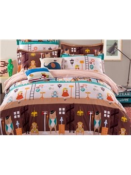 Super Cute Bear and Girls Pattern Kids 100% Cotton Duvet Cover Set