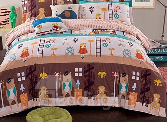 Super Cute Bear and Girls Pattern Kids 100% Cotton Duvet Cover Set