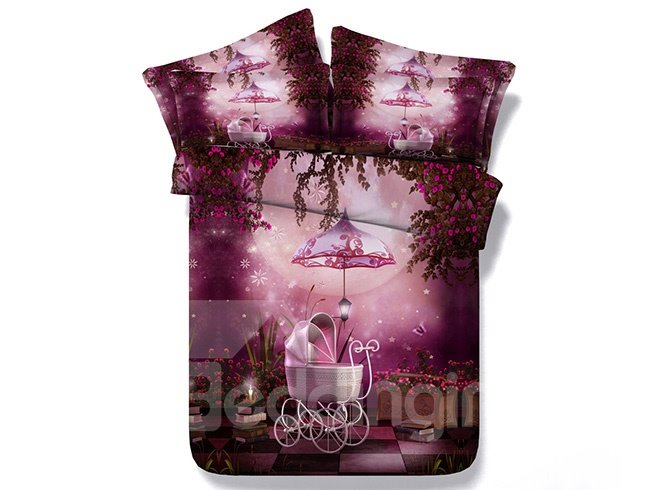 Dreamlike Rosy Garden Scenery Print 5-Piece Comforter Sets