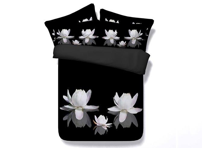 Graceful 3D White Lotus Print 5-Piece Comforter Sets