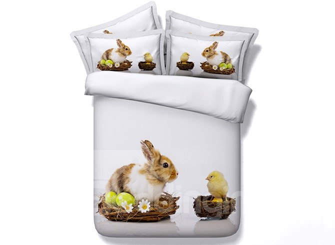 Cute Rabbit and Chick Print Soft White 5-Piece Comforter Sets