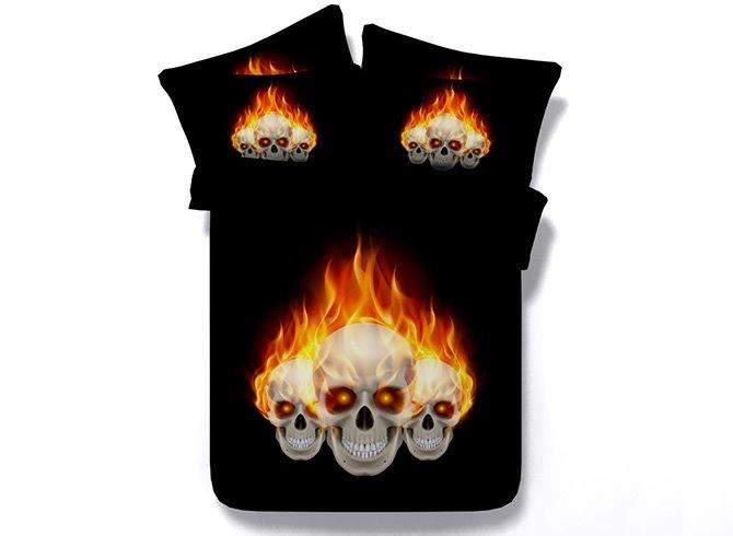 Cool Fiery Skull Print Black 5-Piece Comforter Sets