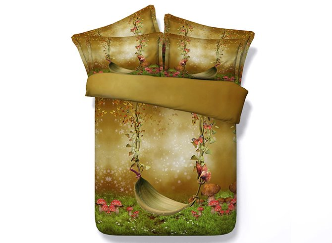 Graceful Pastoral Scenery Swing Print 5-Piece Comforter Sets