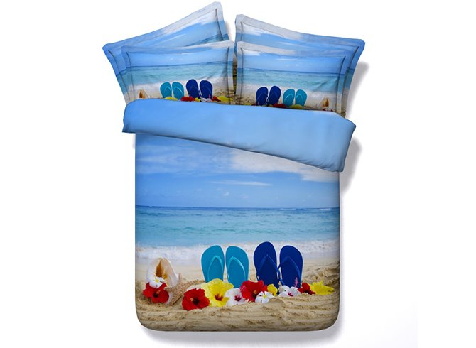 Beach and Sea Scenery Print 4-Piece Duvet Cover Sets