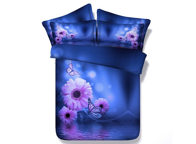 Butterflies and Daisy Print Blue 4-Piece Duvet Cover Sets