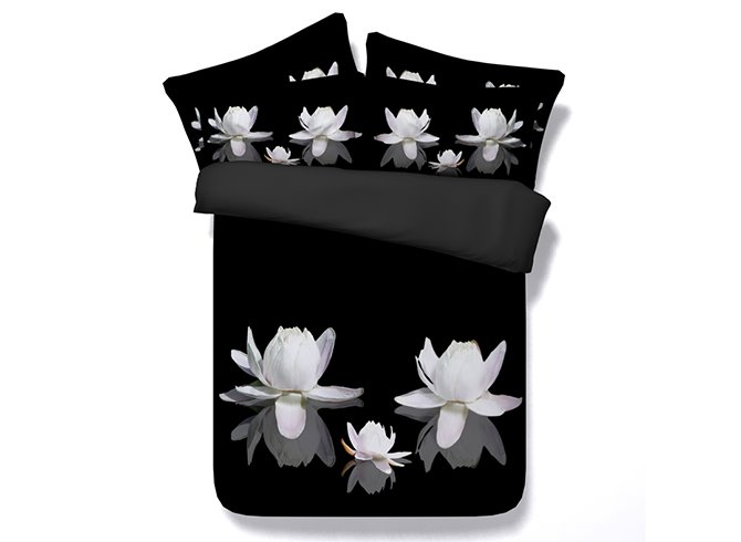3D White Lotus Print Black 4-Piece Duvet Cover Sets