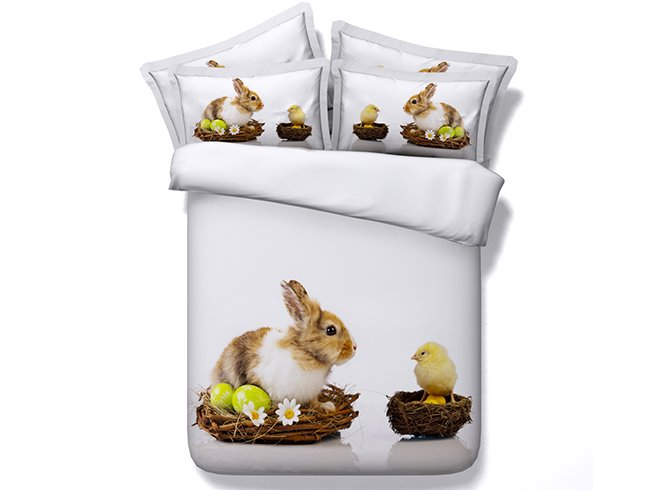 Cute Rabbit and Chick Print White 4-Piece Duvet Cover Sets