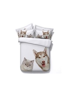 Lovely Cat and Dog Print White 4-Piece Duvet Cover Sets