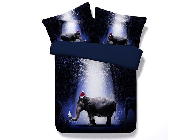 Cute 3D Elephant Print Dark Blue 4-Piece Duvet Cover Sets