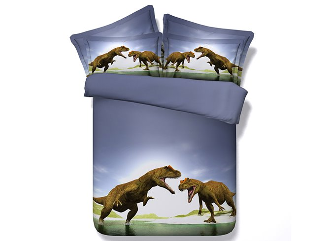 Powerful Dinosaur Blue 4-Piece Duvet Cover Sets