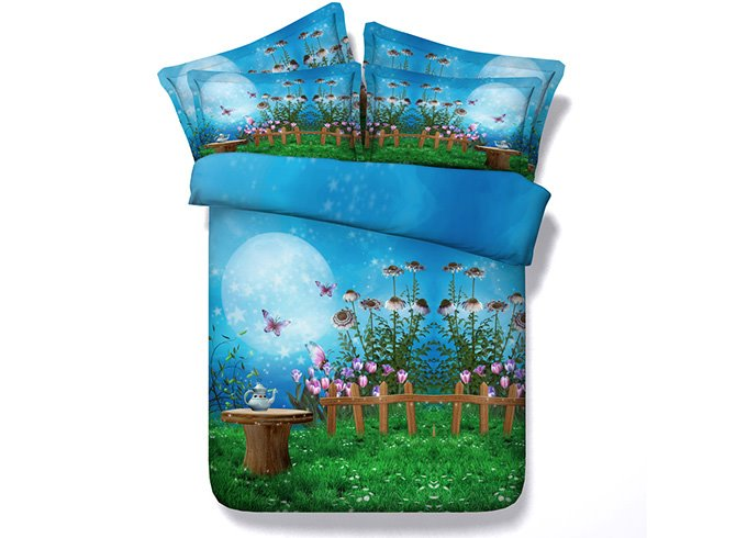 Dreamy Fairyland Print Blue 4-Piece Duvet Cover Sets