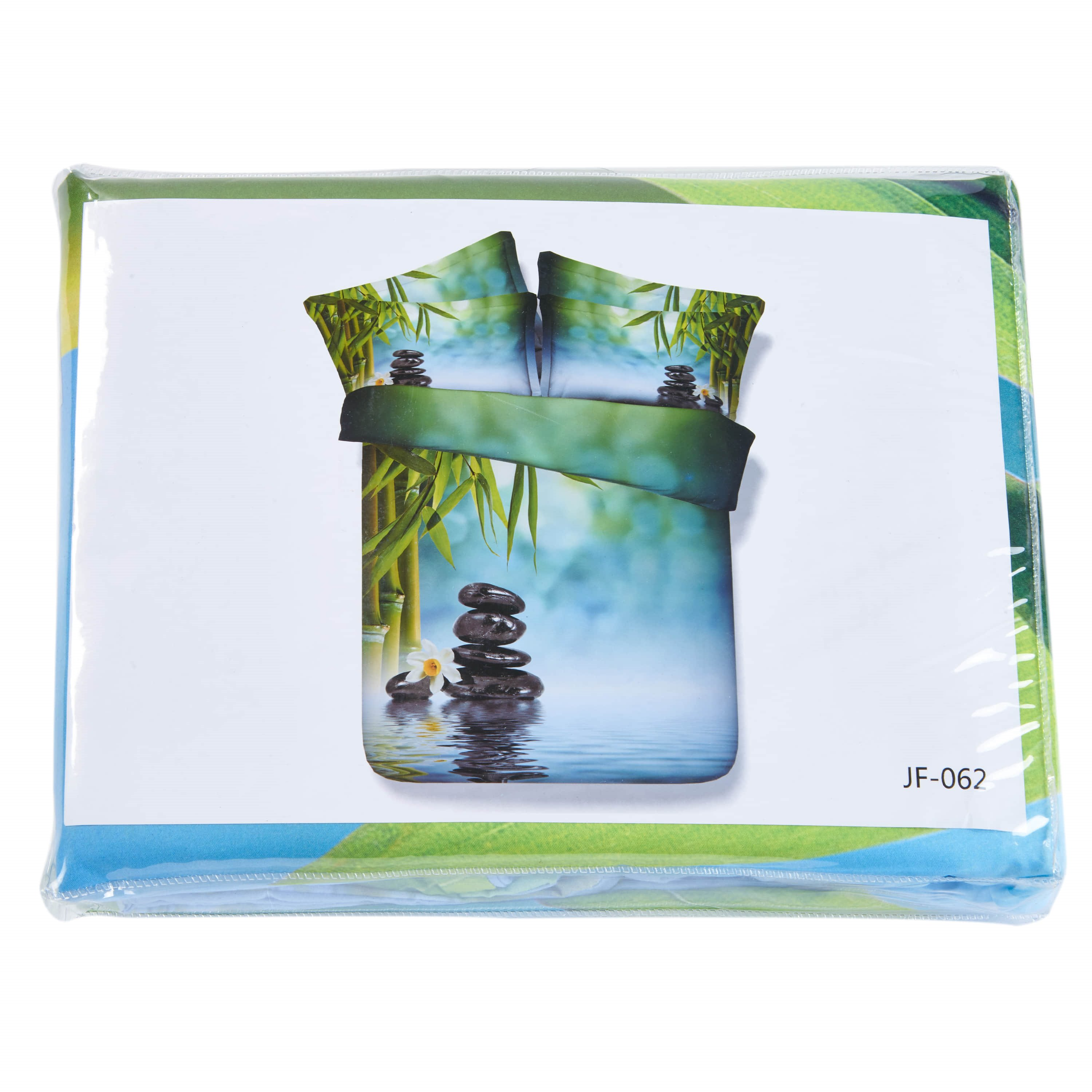 Fresh Bamboo and Cobblestone in River Print 4-Piece Duvet Cover Sets