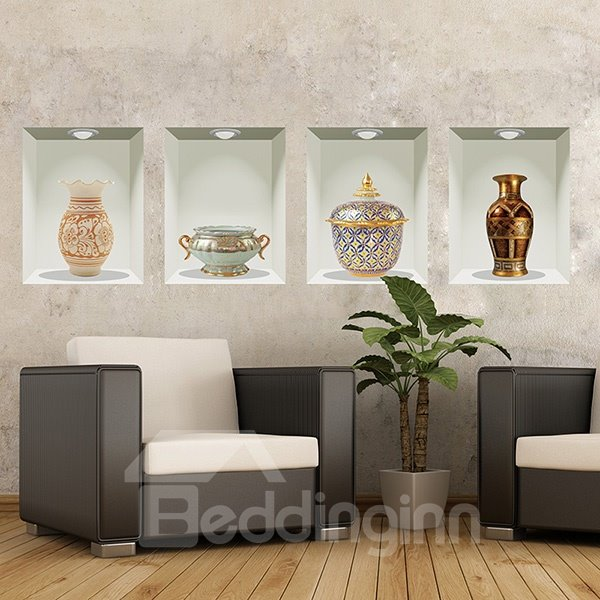Wonderful Antique Vases Pattern 4-Piece Removable 3D Wall Stickers