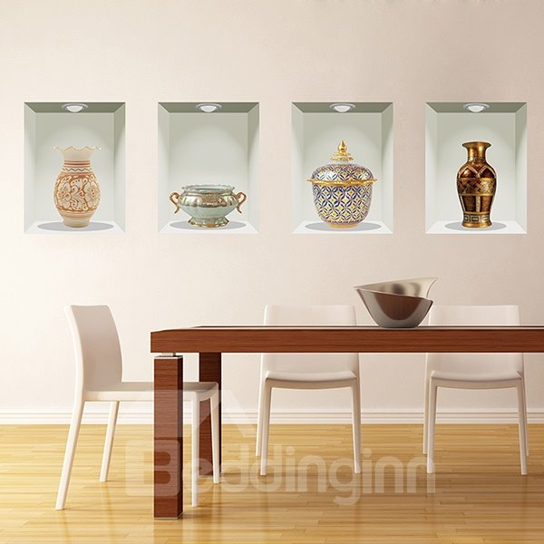 Wonderful antique vases pattern 4 piece removable 3d wall for Dining room 3d wall art