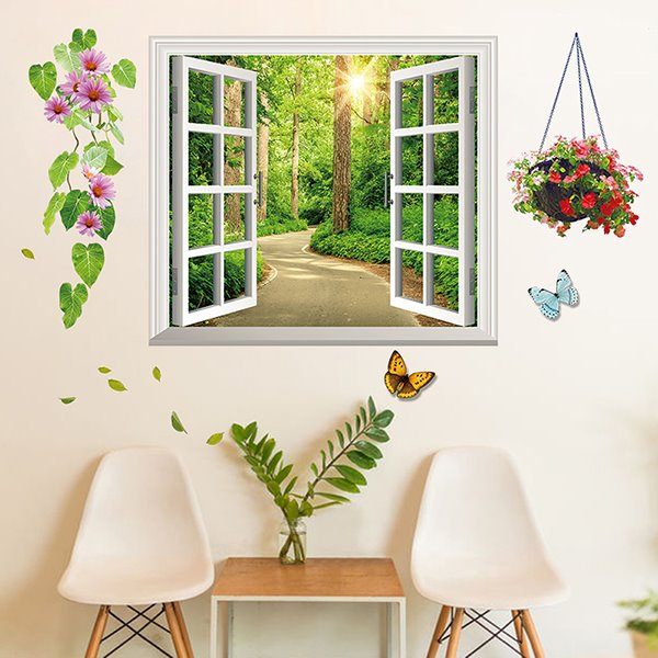 Wonderful Window View Lane in Forest Removable 3D Wall Stickers
