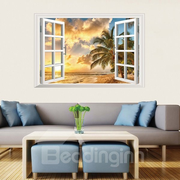 Popular Window View Palm Tree in Sunset Beach Removable 3D Wall Stickers