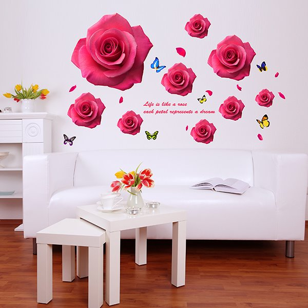 Romantic 3D Roses and Butterfly Removable Wall Sticker