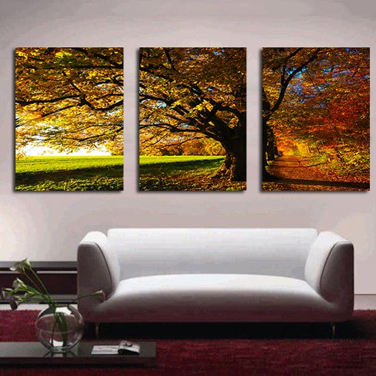 Fantastic Thickly Leafy Tree 3-Panel Canvas Wall Art Prints