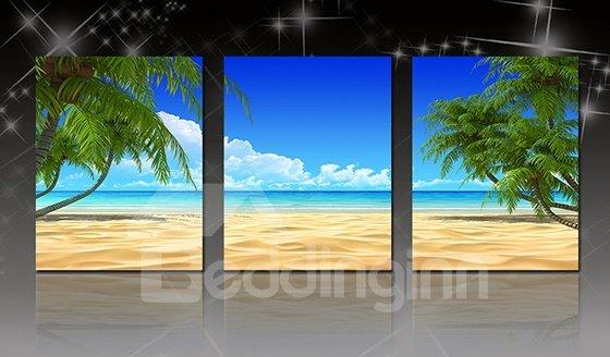 Wonderful Ocean and Beach Palm Tree 3-Panel Canvas Wall Art Prints