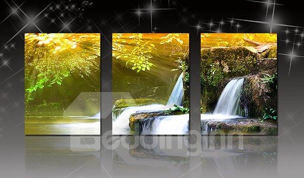 Wonderful Natural Waterfall 3-Panel Canvas Wall Art Prints