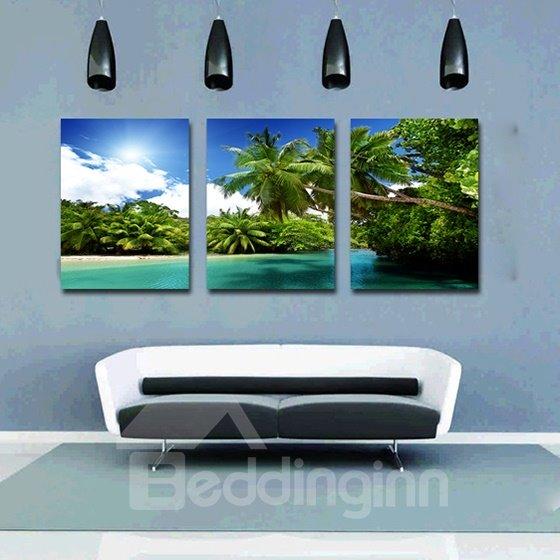 Wonderful Coastal Resort and Palm Trees 3-Panel Canvas Wall Art Prints