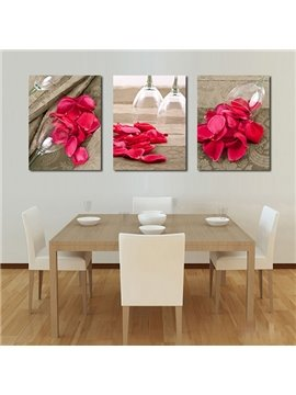 Romantic Bright Red Rose Petals 3-Panel Canvas Wall Art Prints