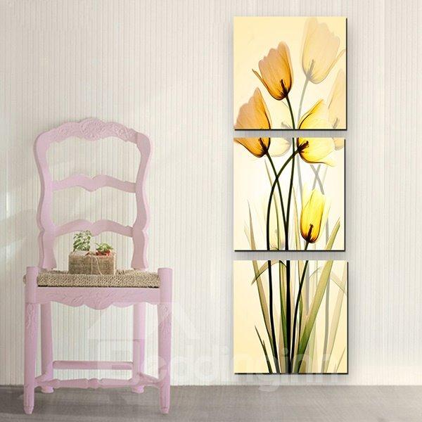 Wonderful Yellow Flowers 3-Panel Canvas Wall Art Prints