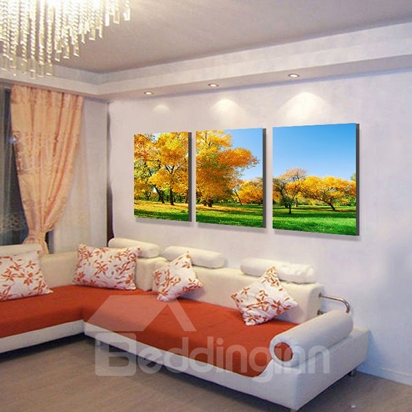 Picturesque Natural Scenery Golden Yellow Trees 3-Panel Canvas Wall Art Prints