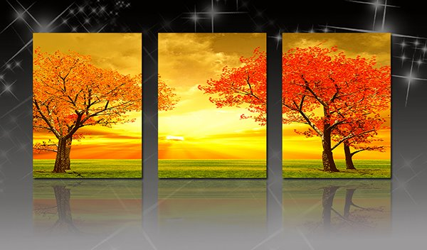 Fascinating Red Leaf Trees in Golden Sunset 3-Panel Canvas Wall Art Prints