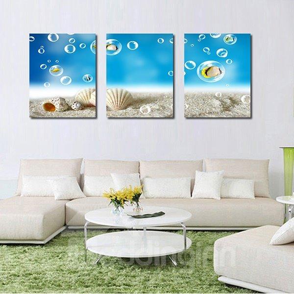 Fantastic Seashells in Beach 3-Panel Canvas Wall Art Prints