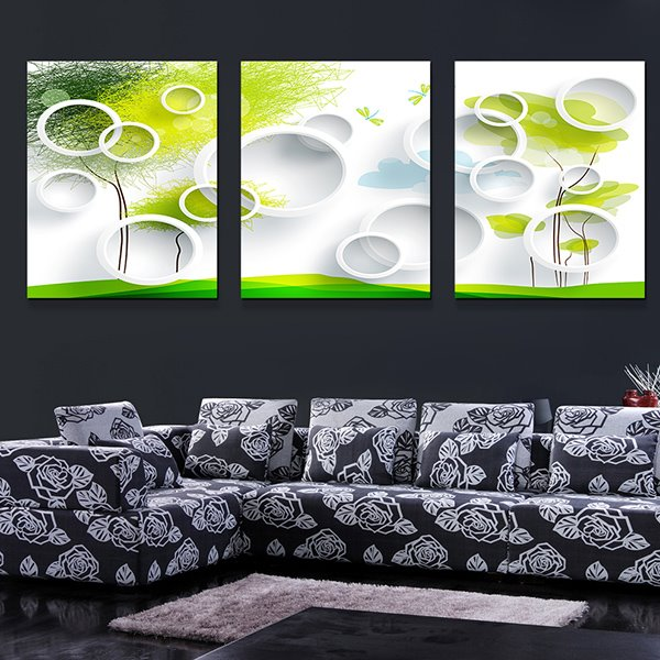 Modern Abstract Bubbles and Trees 3-Panel Canvas Wall Art Prints