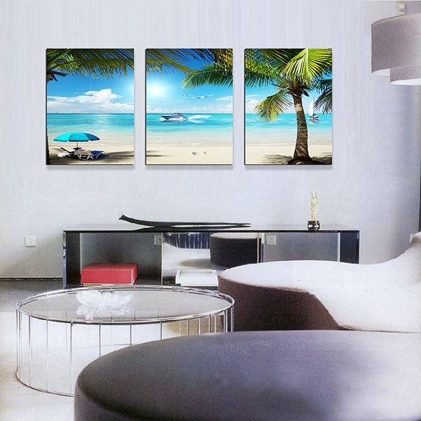 Wonderful Coastal Resort Beach and Sea 3-Panel Canvas Wall Art Prints