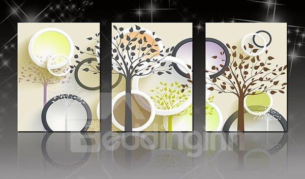 Modern Abstract Trees 3-Panel Canvas Wall Art Prints