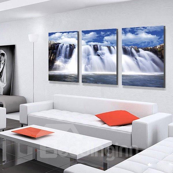 Fantastic Waterfalls Falling off Cliffs 3-Panel Canvas Wall Art Prints