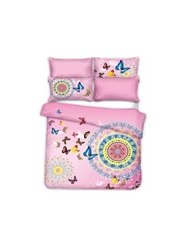 Gorgeous Butterflies Jacquard Design Sweet Pink 4-Piece Cotton Duvet Cover Sets