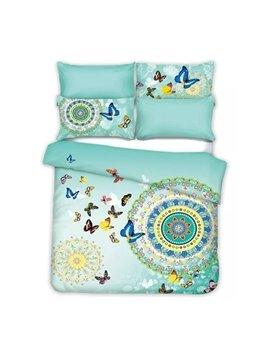 Flying Butterflies Jacquard Design Fresh Green 4-Piece Cotton Duvet Cover Sets