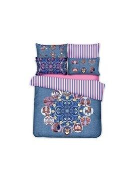 Vintage Animal Jacquard Design Blue 4-Piece Cotton Duvet Cover Sets