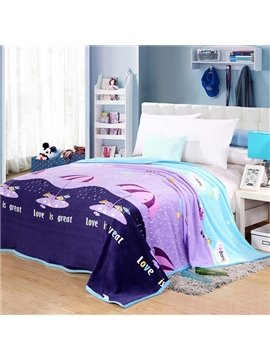 Rain Day Cartoon Umbrella Printed Bed Blanket