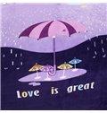Rain Day Cartoon Umbrella Printed Bed Blanket