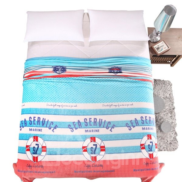 Polka Dot Stripes Printed Anti-Pilling Bed Blanket